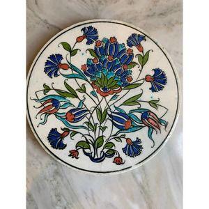 Unique round hand painted tile - trivet